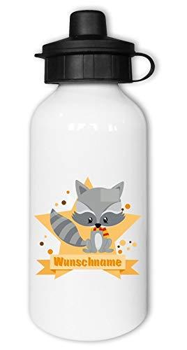Samunshi® Kinder-Trinkflasche mit Waschbär und Namen als Motiv für Schule Sport Freizeit personalisierbar Waschbär