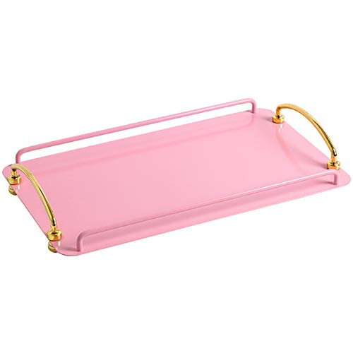 J.Mmiyi Bandeja Baño Decoración Metal, Rectángulo Caja De Almacenaje con Asas para Baño, Cocina, Tazas De Café,Rosado