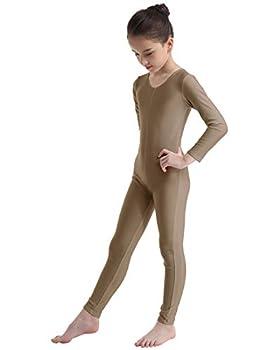 CHICTRY Kids Spandex Full Body Unitard Turtle-Neck Dance Jumpsuit Dress up Costume for Unisex Child Scoop Neck Brown 8-10