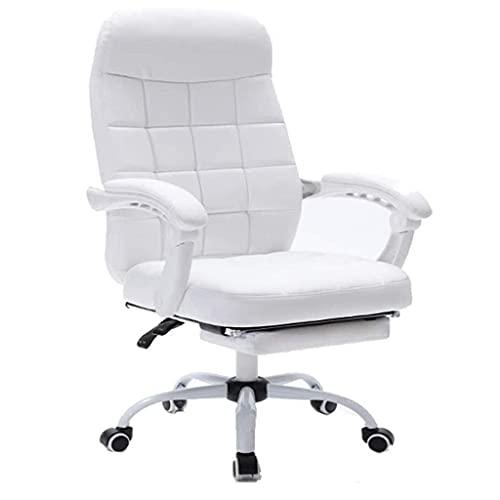 WSDSX Möbel Ergonomischer Büro-Liegestuhl, bequemer Drehstuhl mit Fußstütze, höhenverstellbarer Gaming-Stuhl mit Armlehnen und Rädern