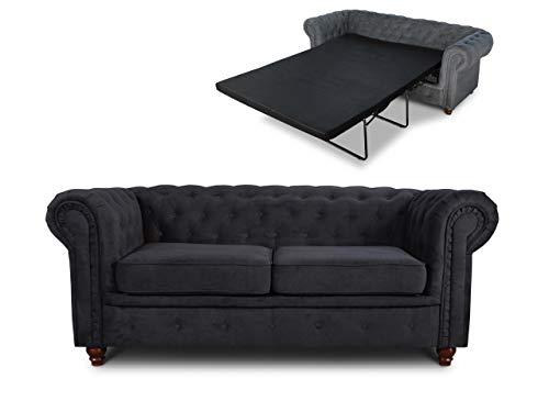 Schlafsofa Chesterfield Asti Bis 2-Sitzer, Sofa mit Schlaffunktion, Couch 2-er, Couchgarnitur, Sofagarnitur, Holzfüße, Glamour (Schwarz (Capri 19))