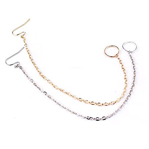 Cadena de anillo de nariz – 2 piezas, anillos étnicos punk, oro cobre clip en la nariz, labio, oreja cadena para mujer