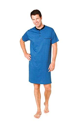Unbekannt Herren Nachthemd Kurzarm in edler Streifenoptik 1/2-Arm mit Knopfleiste am Hals, Farbe:blau;Größe:56