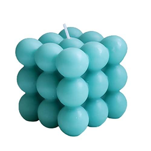 CandyT Vela de Cubo de Burbujas Creativa Vela de decoración del hogar de Cera de Soja Vela perfumada Vela perfumada de Cubo Hecha a Mano escultural (Azul Oscuro 6 * 6 cm)