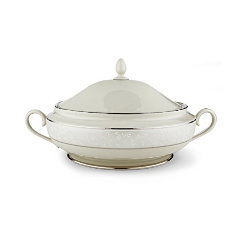 Lenox 6252415 Pearl Innocence Covered Vegetable Bowl, Ivory