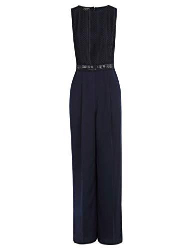 APART, eleganter Overall, ärmellos, mit rundem Ausschnitt und semi-transparentem Tailleneinsatz, Nachtblau, Nachtblau, 42