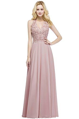 Babyonlinedress Damen Abendkleider Lang Neckholder Applique Chiffon Spitze Perlen Nude Rosa 32