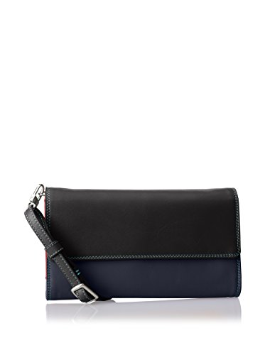 mywalit Damen Shoulder Purse W/Organiser Flap, schwarz/blau, one size