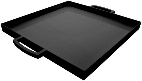 Zak Designs MeeMe Small Melamine Serving Tray, Easy-to-Hold Handles, Square Tray with Modern Design, Perfect for Indoor/Outdoor Activities (15.25in with handles x 12.5in x 1.5in, Black, BPA-Free)