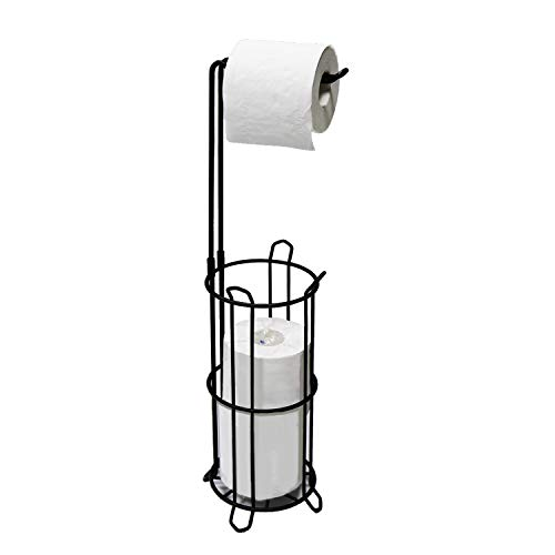 Minggoo Freestanding Bathroom Toilet Paper Holder Stand and Dispenser -Bathromm Storage Organization-Holds 4 Rolls -Metal Wire Black