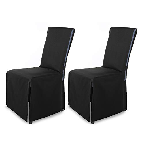 SCHEFFLER-Home Mila 2er Set Stuhlhussen Chair Cover/Moderne Husse Stuhlabdeckung mit Schleife, schwarz