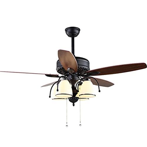 Araña del ventilador, control remoto, fuente de luz, restaurante idílico, con cremallera de luz, decoración del dormitorio (Size : Remote control)