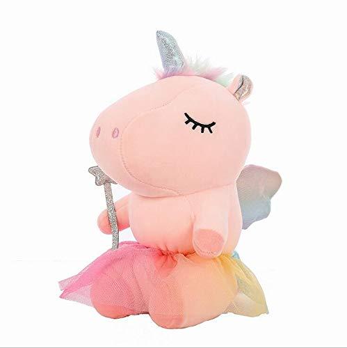 WENTS Einhorn Kuscheltier Kuschelpferd pink oder Plüschtier Stofftier Unicorn 20cm lila Glitzerhorn Flügel Deko Sachen Einschlafhilfe Spielzeug Geschenke für Mädchen