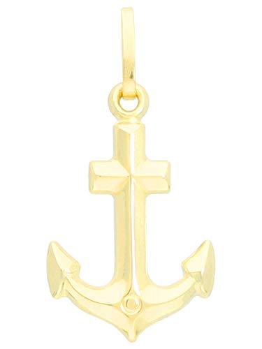 MyGold Amalfi A-03929-G401 Ankerhanger (zonder ketting) geelgoud 585 goud (14 karaat) zonder steen glans 22 mm x 11 mm fijne kleine zachte kettinghanger gouden hanger geschenken voor vrouwen meisjes