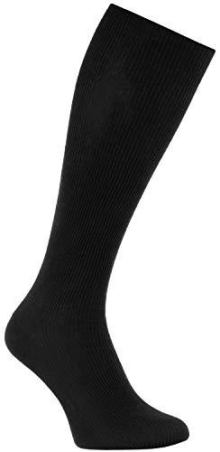 Rainbow Socks - Damen Herren Baumwolle Diabetiker Kniestrümpfe - 1 Paar - Schwarz - Größen 42-43