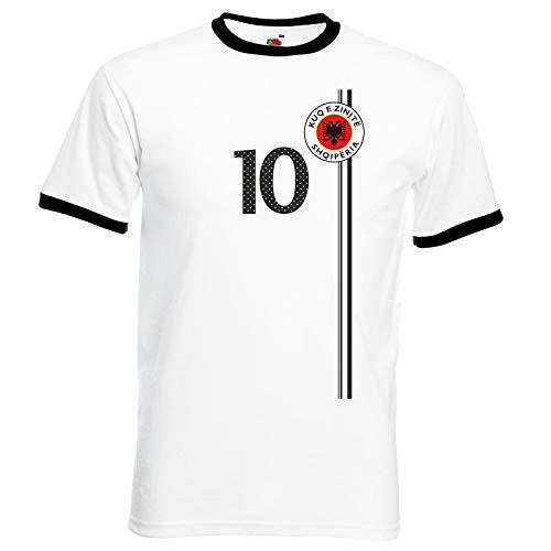 aprom Albanien Fußball T-Shirt im Trikot Look ST-1 Ringer ws (L)