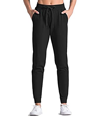 Dragon Fit Women's Active Joggers Sweatpants Tapered Lounge Pants with Pockets Drawstring Workout Pants for Yoga, Running,Fitness (X-Large, Black)