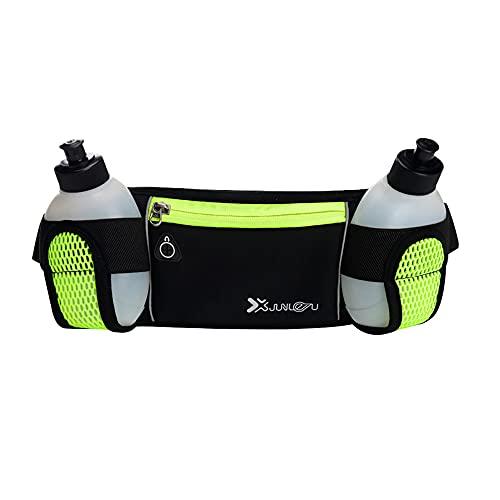Cinturón de hidratación con botellas de agua, 2 x 175 ml, ajustable, transpirable, impermeable, reflectante, riñonera para maratón, correr, ciclismo, entrenamiento, senderismo, etc