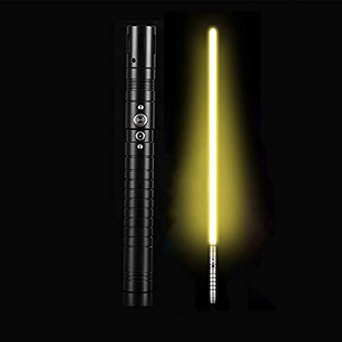 gengyouyuan Luminoso efecto de sonido de juguete espada niños adultos sable de luz apoyos de metal espada Rgb BlackHandle y YellowLight