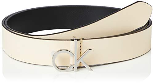 Calvin Klein Re-lock Low Ck 3cm Fixed Cintura, Giallo (Light Sand Td), Medium (Taglia Produttore: 90) Donna
