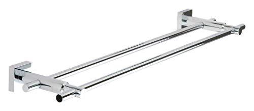 Tesa hukk doppelt Handtuchhalter (verchromt, rostfrei, inkl. Klebelösung, hält bis 12kg, 50mm x 700mm x 160mm)
