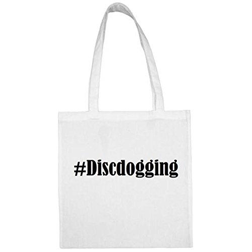 Tasche #Discdogging Größe 38x42 Farbe Weiss Druck Schwarz