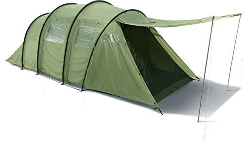 Nordisk - REISA PU grote familietent, ruime slaapcabines, tunnelconstructie, deuren met ramen, nylon ripstop met polyurethaan coating, 6-persoonstent, groen/dusty green