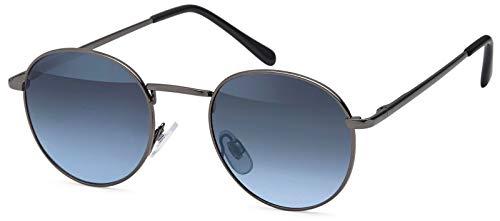 styleBREAKER Sonnenbrille in Panto-Form mit runden Flachgläsern und Metall Bügel, Unisex 09020077, Farbe:Gestell Anthrazit/Glas Grau Verlauf