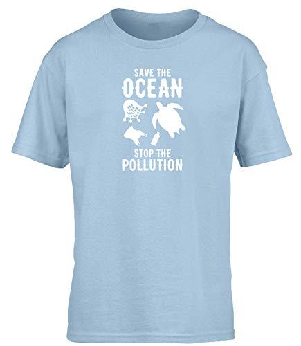 Hippowarehouse Save The Ocean Stop The Pollution Kids Childrens Short Sleeve t Shirt Light Blue