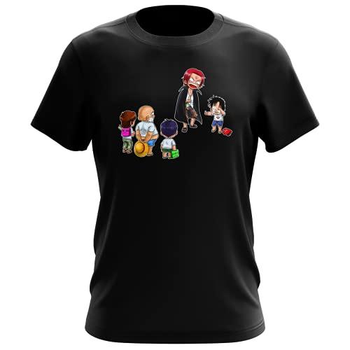 T-Shirt Homme Noir Parodie One Piece - Luffy et Shanks Le Roux - Traduction (T-Shirt de qualité Premium de Taille XXS - imprimé en France)