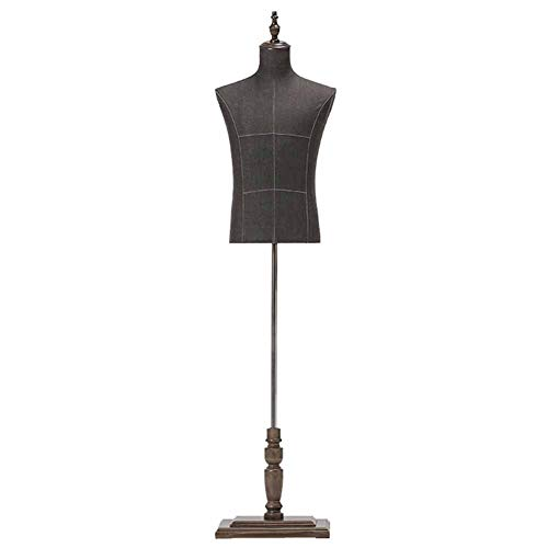 Maniqui Costura Cuerpo de Torso de maniquí Masculino con Soporte de Madera, Mangas Ajustables con Forma de maniquí para exhibición de Traje de Camiseta de Jersey para Hombre, Negro