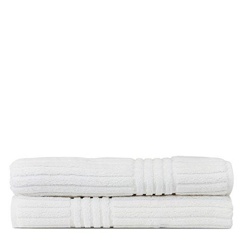 Luxury Hotel & Spa Towel 100% Pure Turkish Cotton Ribbed Channel Pattren - Bath Towel (Bath Towel - Set of 2, White)