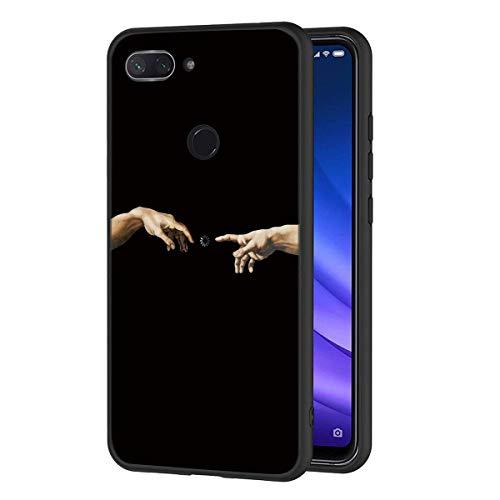 ZhuoFan Funda Xiaomi Mi 8 Lite Cárcasa Silicona Ultrafina Negra con Dibujos Diseño Suave TPU Gel Antigolpes de Protector Piel Case Cover Bumper Fundas para Movil Xiao Mi 8Lite 2019, Mano