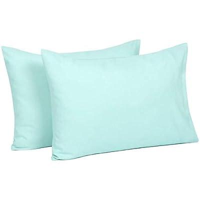 Om Bedding Collection Travel Pillowcase 12X16 500 Thread Count Egyptian Cotton Set of 2 Toddler Pillowcase Zipper Closer 100% Egyptian Cotton (Toddler Travel 12X16, Aqua Blue)