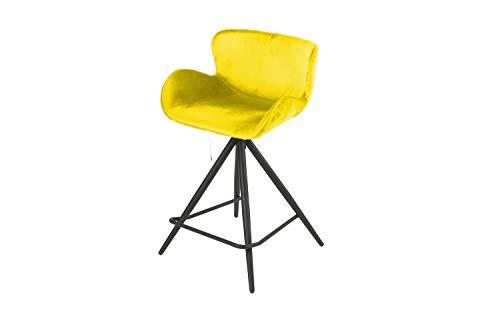 Meubletmoi - Trona de tela de terciopelo amarillo y patas de metal negro – Taburete de bar de diseño contemporáneo – Lotus