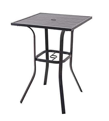 Patio Bar Height Table Outdoor Metal Frame Bistro Table with Umbrella Hole
