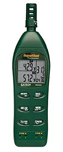 Extech RH350 Psychrometer with 2 Type K Remote Temperature Probes -