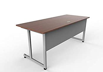 Linea Italia Executive Training Extra Large Easy to Assemble Metal Desk with Wood Top | Computer Table for Home or Office 72  x 30  Cherry