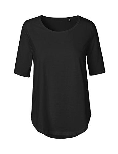 Green Cat- Damen Halbarm T-Shirt, 100% Bio-Baumwolle. Fairtrade, Oeko-Tex und Ecolabel Zertifiziert, Textilfarbe: schwarz, Gr.: L