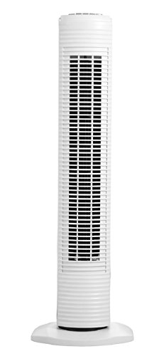 Holmes Oscillating Tower Fan with 3 Speed Settings, 31 Inch, White
