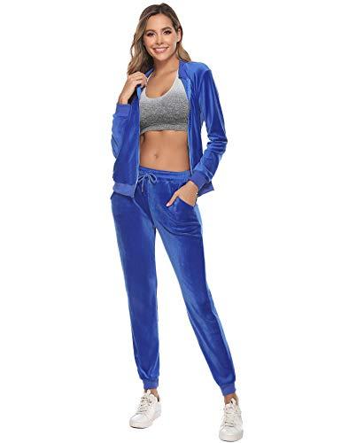 Akalnny Tuta Donna Sportiva Abbigliamento Felpa Tops E Pantaloni Jogging Manica Lunga Pullover Tuta Ginnastica per l'autunno Primaverile Invernale(Blu, M)