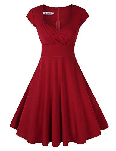 KOJOOIN Damen Vintage Kleid Cocktailkleid Abendkleid Ballkleid Rockabilly Taillenbetontes Kleid Knielang Weinrot V-Ausschnitt L