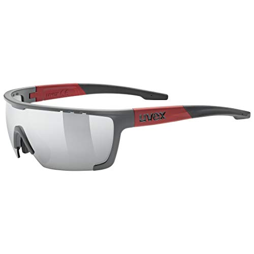 uvex Unisex– Erwachsene, sportstyle 707 Sportbrille, grey red mat/silver, one size