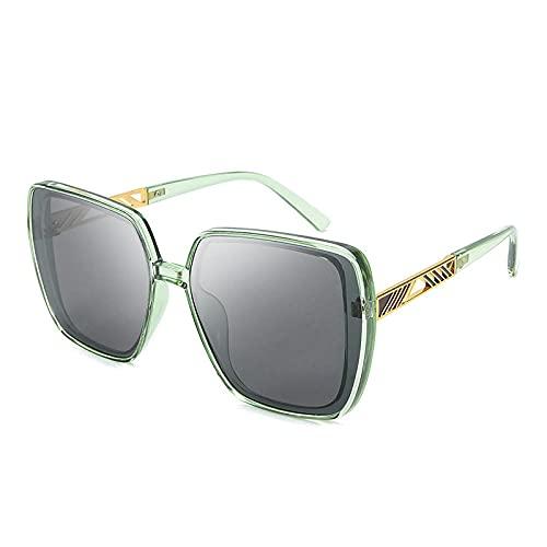 Gosunfly Polarous espejo femenino gafas de sol de montura grande retro cien espejo-marco blanco