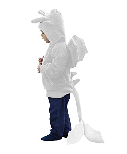 ComfyCamper Dragon Costume Hoodie, Animal Play Sweatshirt for Boys Girls, 10-12 Years White