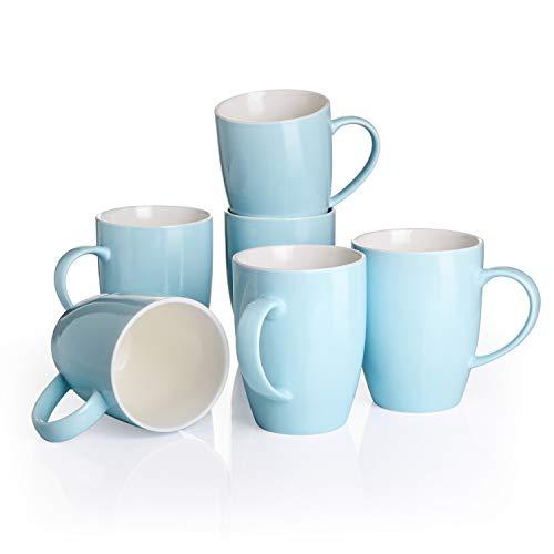 Panbado Kaffeepott aus Porzellan, 6-teilig Set 370 ml Großer Becher, Trinkbecher, Himmelblau + Weiß Farbe, Porzellan Tasse, Kaffeetasse, Kaffeebecher - Geschenk für Freundin, Familie & Kollegin