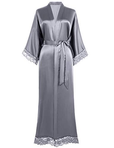 Coucoland Bata larga para mujer, de un solo color, bata de encaje, para dama de honor, kimono, de satén, ropa de noche para mujer, verano, de punto, color puro Largo – gris. Talla única