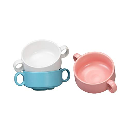 BonNoces 10 Ounce Porcelain Soup Bowls with Double Handles, Unique Matte Glazed Small Bowl Set for Soup, Salad, Chili, Cereal, and Beef Stew, Set of 3(White/Pink/Blue)