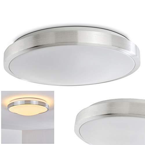LED Deckenleuchte Wutach, runde Deckenlampe aus Metall in Alu gebürstet, 1 x 18 Watt, 1350 Lumen, Lichtfarbe 3000 Kelvin (warmweiß), IP 44, auch für das Badezimmer geeignet