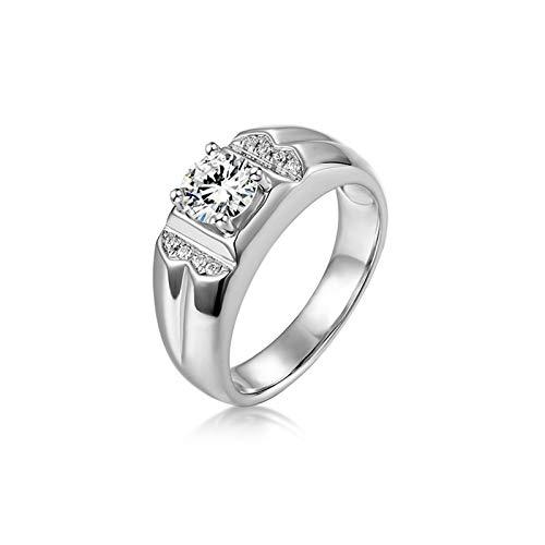 Bishilin Herren Ring Verlobung Gold 585 4-Steg-Krappenfassung Moissanit Eheringe Hochzeit Ring Weißgold mit Diamant Gr.66 (21.0)